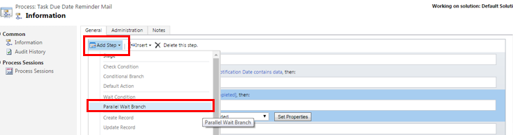 parallel wait branch condition in MS Dynamics CRM