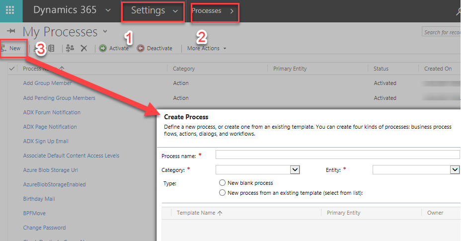 Create workflow within MS Dynamics CRM