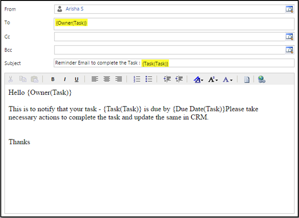 Dynamics crm workflow send email for It notification email template