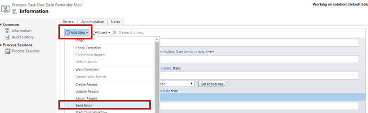 Send email notification in MS Dynamics CRM workflow